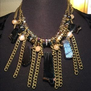 Jewelry - Chain and stone necklace in bronze tones